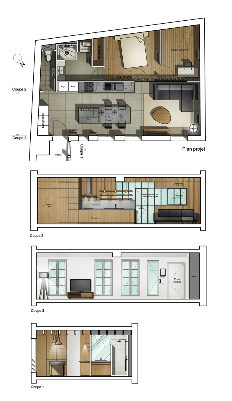Beautiful plan am nagement appartement images for Amenagement appartement 30 m2